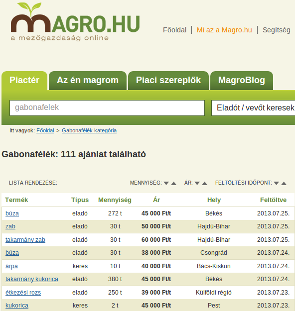 Magro.hu gabona ajánlatok
