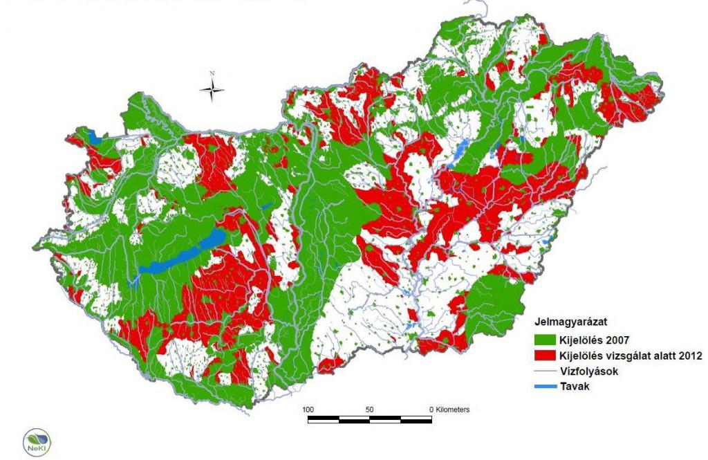 Hazai nitrátérzékeny területek