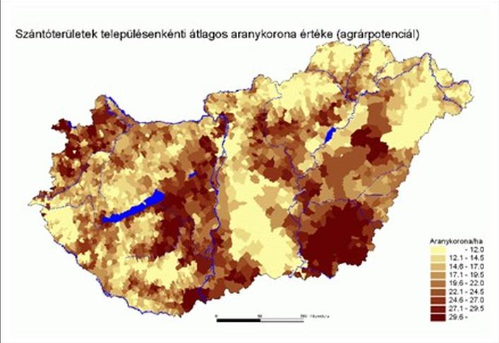 Szántóterületek településenkénti átlagos aranykorona értéke (agrárpotenciál) – Aranykorona/hektár Fotó: tankonyvtar.hu