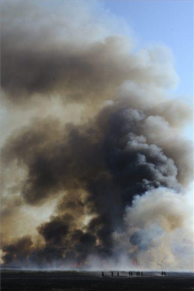 Tűzoltók és katonák a Hortobágyi Nemzeti Park területén lévő tűznél, Nádudvar határában 2015. augusztus 12-én. A hortobágyi puszta már csaknem 300 hektáron lángol, a tűzoltók nagy erőkkel küzdenek az avartűz megfékezésén. Fotó: Czeglédi Zsolt (MTI)