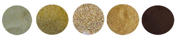 Rizsliszt, durum dara, kukoricadara, kölesliszt, szőlőmagőrlemény (balról-jobba)
