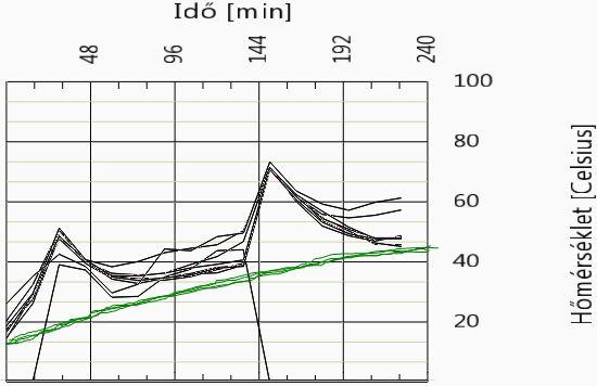 2. ábra Az 1. ábra adataiból készült vonaldiagram. Bal oldalon a toronyba lépő kukorica, jobb oldalon a száraz termény hőmérsékletét látjuk. A szárítás folyamatát kísérő, az ideálishoz közelítő hőmérsékletemelkedést zöld színnel jelöltük