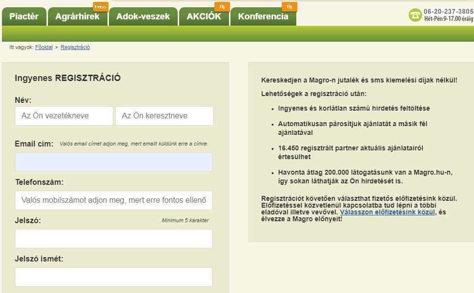 1. kép – A regisztráció mindössze 1-2 percet vesz igénybe, ezt követően korlátlan számú ajánlatot tölthet fel bárki a piactérre