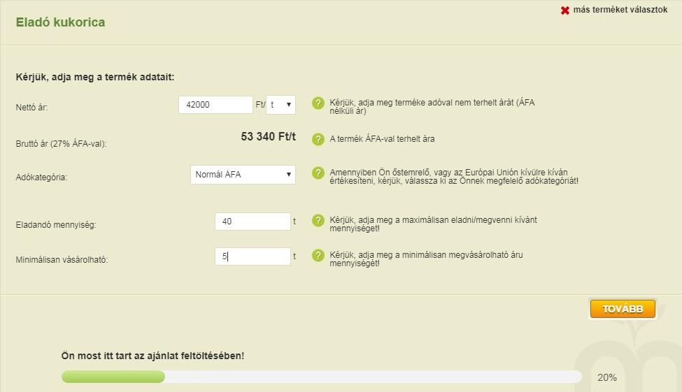 3. kép – Hogy hol tart az ajánlatfeltöltésben, a képernyő alján egy folyamatjelzőn követheti figyelemmel