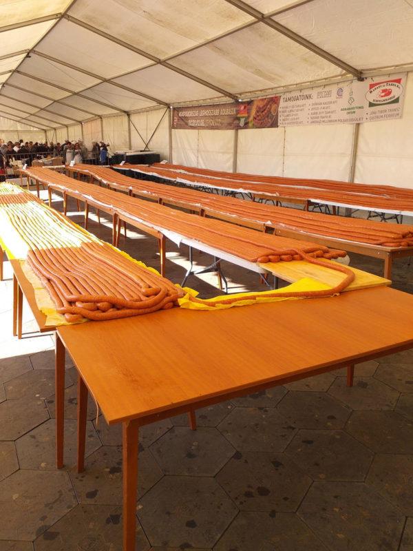 A győrvári kolbászkészítés eredménye egy 3490 méteres, rekordhosszúságú darab lett - Fotó: Vas Népe online - VAOL.hu