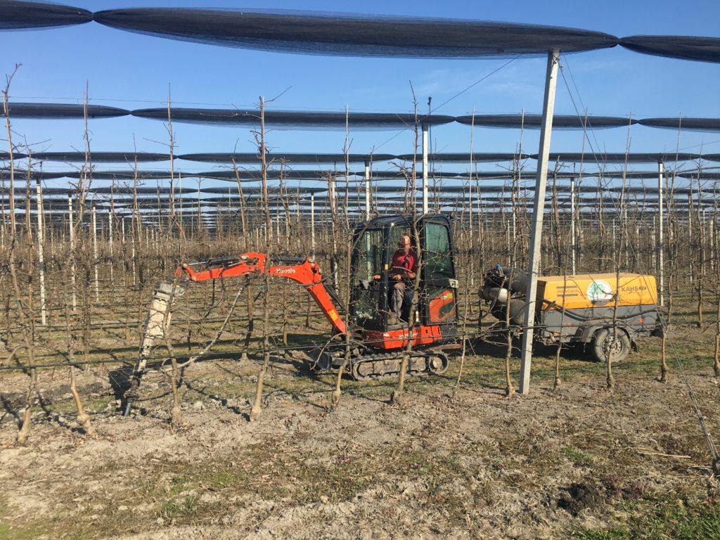 Levegőt juttat a különleges gépkapcsolat egy bajai ültetvény talajába - Fotó: Faragó Endre