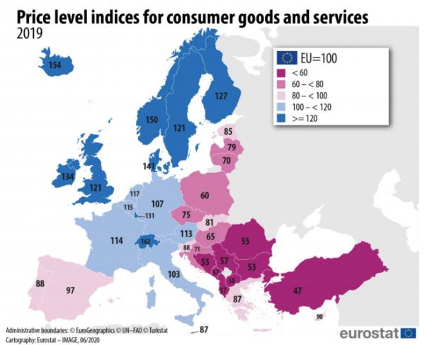 Az elemzés pontok alapján értékel, amelyek a következő ábrán is láthatóak. Száz pontnak az uniós átlagot tekintik. Forrás: Eurostat