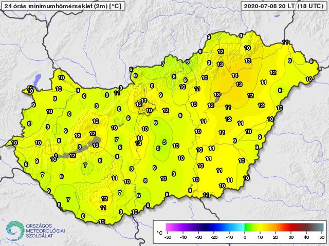 Napi minimumhőmérséklet 2020. július 8-án (Celsius fok)