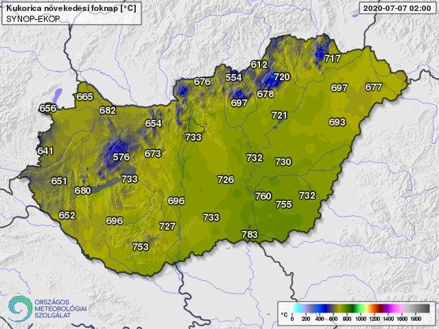 A 10 fokos bázishőmérséklettel április 1-től számolt hőösszegek 2020. július 7-én (foknap)