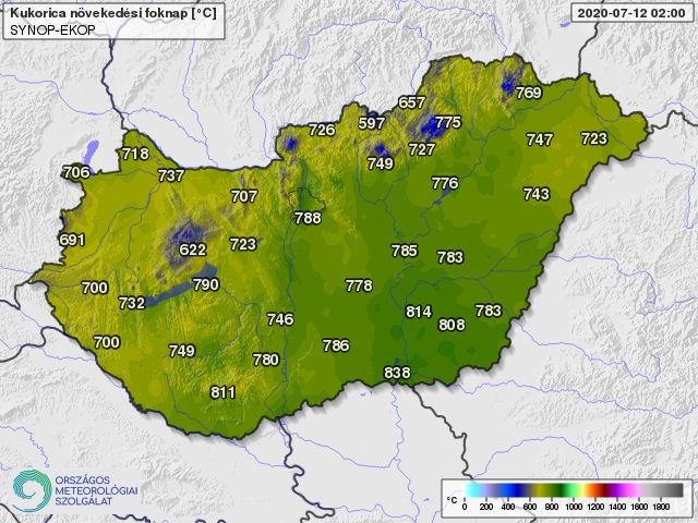 A 10 fokos bázishőmérséklettel április 1-től számolt hőösszegek 2020. július 12-én (foknap)