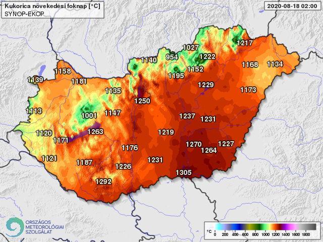 kukoricatermesztésben használatos 10 fokos bázishőmérséklettel április 1-től számolt hőösszeg 2020. augusztus 18-án (foknap)