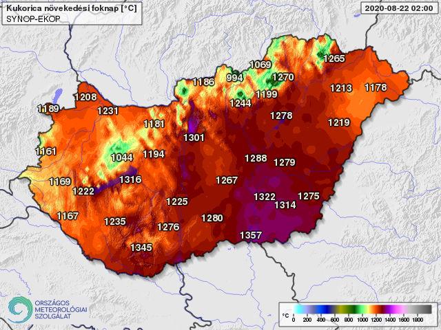 A kukoricatermesztésben használatos 10 fokos bázishőmérséklettel április 1-től számolt hőösszeg 2020. augusztus 22-én (foknap)