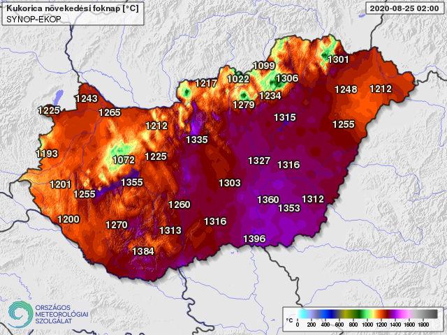 A kukoricatermesztésben használatos 10 fokos bázishőmérséklettel április 1-től számolt hőösszeg 2020. augusztus 25-én (foknap)