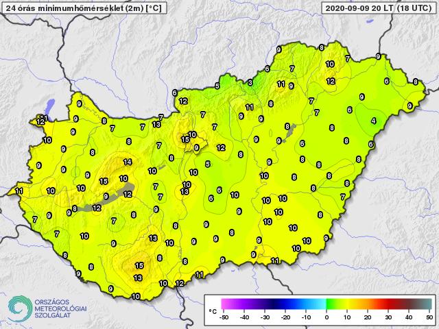 Napi minimumhőmérsékletek 2020. szeptember 9-én (Celsius fok)