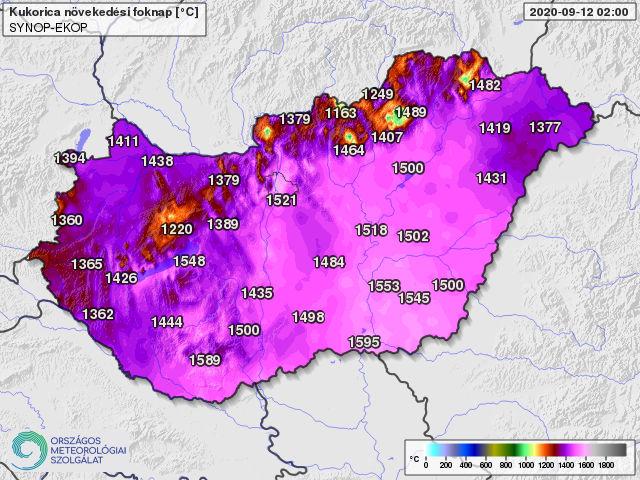 A kukoricatermesztésben használatos 10 fokos bázishőmérséklettel április 1-től számolt hőösszeg 2020. szeptember 12-én (foknap)
