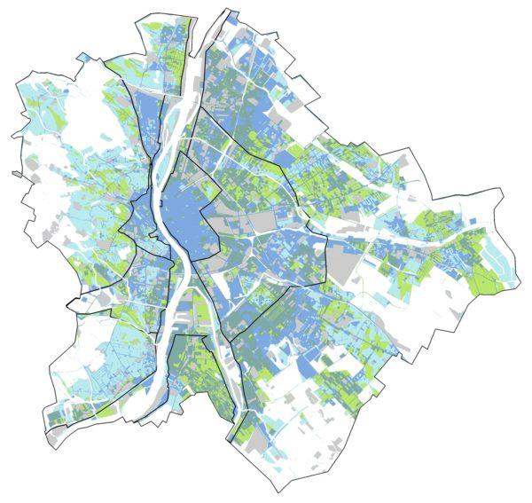 Az esővíz hatékonyabb felhasználását vizsgálta a SZIE fiatal kutatója - a térképen szikkasztási, visszatartási és párologtatási potenciálterületek Budapesten (Világoskék területek: vízvisszatartás; világoszöld területek: szikkasztás és vízvisszatartás; sötétebb kék területek: vízvisszatartás és párologtatás; sötétebb zöld területek: szikkasztás, vízvisszatartás és párologtatás) – Forrás: Csizmadia Dóra
