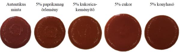 Különböző anyagokkal 5 százalékban hamisított paradicsomsűrítmények képei – a különbség szabad szemmel szinte észrevehetetlen - Fotó: Vitális Flóra