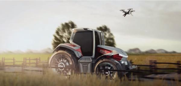Drón felvételezi a növényállományt a Steyr Konzept traktora előtt - Forrás: Youtube